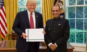 Pak envoy Aizaz Chaudhry presents credentials to US President Trump