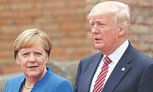 Trump, Merkel not giving ground