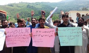 Protesting Neelum-Jhelum power project employees demand induction into Wapda