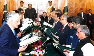 New cabinet takes oath: Khawaja Asif foreign minister, Ahsan Iqbal interior minister