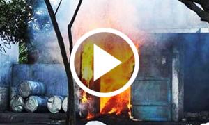 کراچی کی فیکٹری میں دھماکے کی ویڈیو
