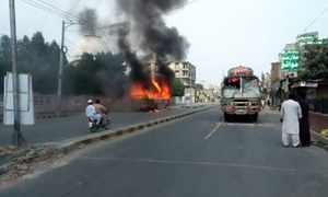 Students set buses ablaze in Faisalabad
