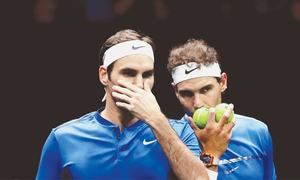 Nadal, Federer team up to widen Europe's lead