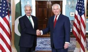 Pakistan pursues zero-tolerance approach against all militants, Asif tells Tillerson