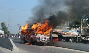 Student dies in Sialkot road accident, protesters set bus on fire