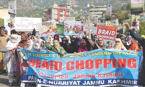 Women protest against braid-chopping incidents in held Kashmir