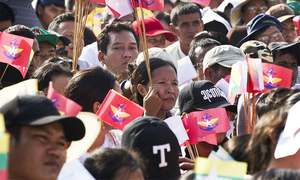 Buddhist nationalists, supporters march to show solidarity with Myanmar army