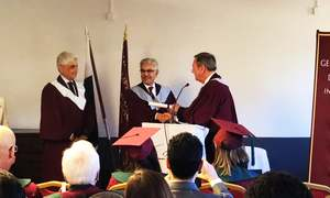 Foreign Minister Khawaja Asif conferred with an honorary PhD by Swiss University