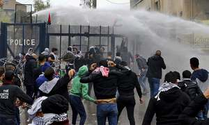 Tear gas, water canons fired at pro-Palestinian protesters near US embassy in Lebanon
