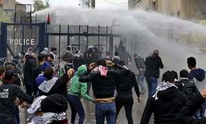 لبنان میں فسلطین کے حق میں امریکی سفارخانے کے باہر مظاہرے