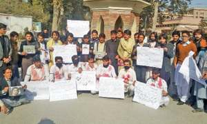 UoP students protest Fata youth's killing by police