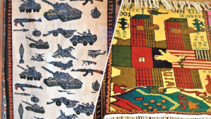War tanks, machine guns, Twin Towers - Afghan carpets in Saddar are featuring a new trend