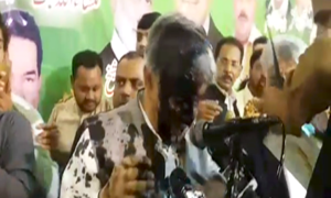 Khawaja Asif target of ink attack at PML-N convention