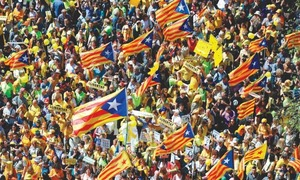 اسپین سے علیحدگی، کیٹلونیا کے گرفتار رہنماؤں کے حق میں مظاہرے