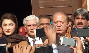 Court advises Nawaz to convince lawyer to rejoin case