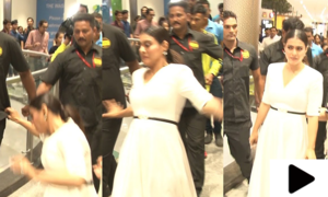 بھارتی اداکارہ کاجول پیر پھسلنے کے باعث شاپنگ مال میں گرگئیں