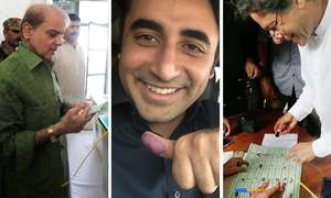 Shahbaz, Bilawal and Imran cast their votes