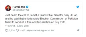 سراج الحق نے بھی انتخابات کی شفافیت پر سوال اٹھا دیے