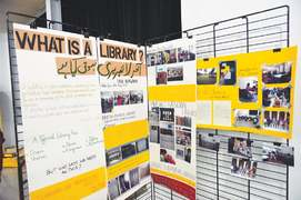 Travelling library set up by students put on display