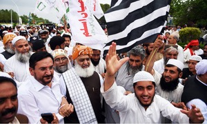 Opposition leaders sans Shahbaz Sharif lead protest against 'rigging' in Islamabad