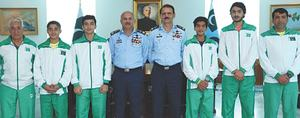 PAF chief felicitates squash medal winners