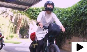 ہانگ کانگ کی نوجوان لڑکی سائیکل پر لاہور پہنچ گئی
