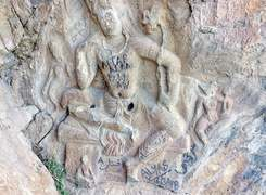 Stone-carved Buddha defaced by Shangla people