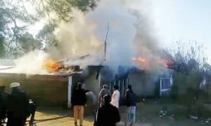 Police residential quarters gutted in Mansehra