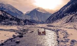 برف کی سفیدی میں لپٹی وادی کالام
