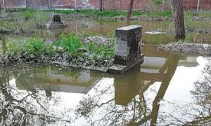 Over 100 graves collapse because of sewage overflow