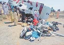 Nine killed, 64 injured as bus overturns near Badin