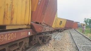 Rail service disrupted as goods train derails