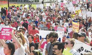 Hundreds protest ban on abortion in Alabama