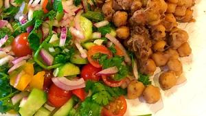 Satisfy your chaat cravings with this spiced chickpea and Mediterranean salad
