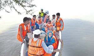 People evacuated from flooded areas