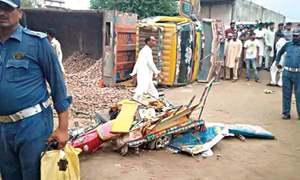 Seven schoolchildren killed as truck falls on rickshaw