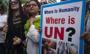 Kashmiri activists protest outside BBC, CNN offices in London