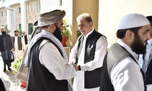 Afghan Taliban delegation meets Qureshi at foreign ministry