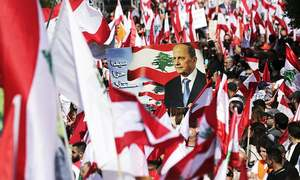 Thousands rally to support Lebanon president