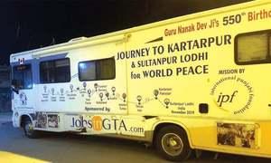 Bus travelling from Canada to Kartarpur stops at Gurdwara Punja Sahib