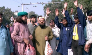 Visually impaired people's sit-in for 'regularised livelihood' enters third day in Lahore