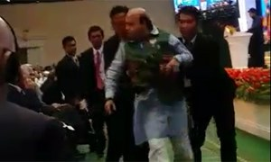 BJP leader escorted out by security for heckling Suri during speech on occupied Kashmir
