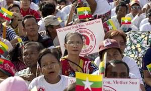 Myanmar leader Suu Kyi departs for genocide hearings