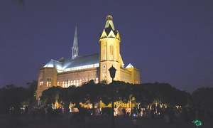 Historic Frere Hall illuminated to mark Quaid's birth anniversary