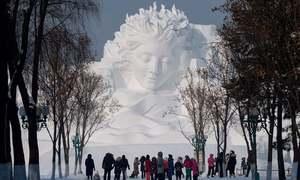 چین میں برف کے بنے مجسموں اور عمارتوں کا عالمی میلہ