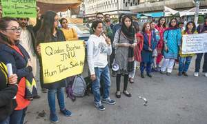Karachi students come out in support of JNU fellows, teachers