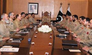 Army huddle rejects Indian military's 'irresponsible rhetoric' against Pakistan