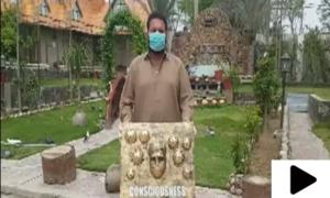 جہلم کے آرٹسٹ کا کورونا وائرس سے محفوظ رہنے کے لیے انوکھا انداز