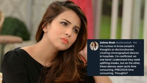 Ushna Shah questions doctors taking breaks while saving lives