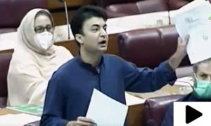 قومی اسمبلی میں پیپلزپارٹی کی شازیہ سومرو نے مراد سعید کی طرف ہیڈ فون پھینک دیا